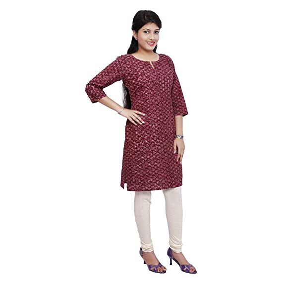 bc1457c6c5b TVAM Women s Casual Cotton (m) Maroon and Grey Kurti  Amazon.in  Clothing    Accessories