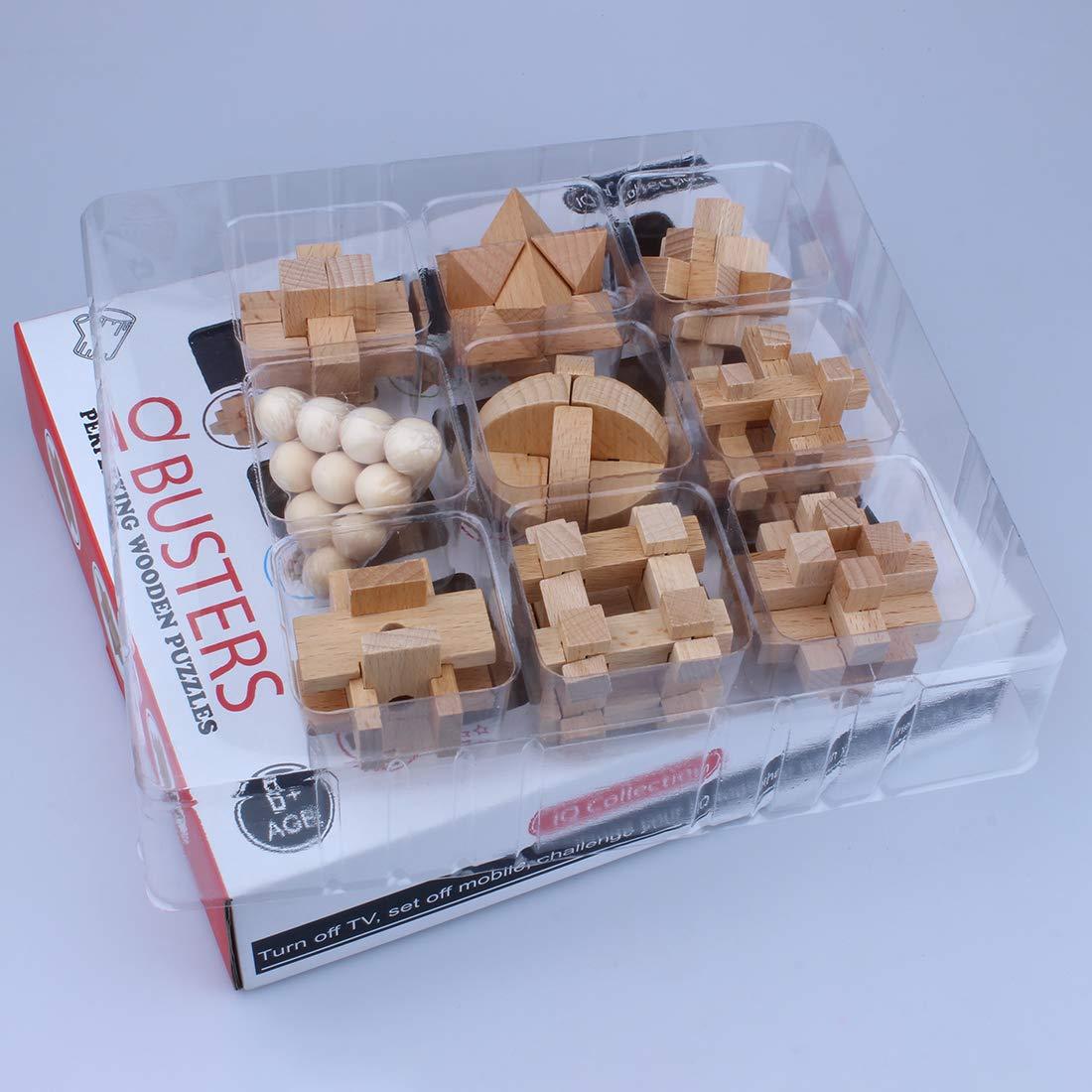 Searchyou Puzzle Rompicapo 9 Pezzi 3D Rompicapo in Legno Giochi di Riflessione e Logica per Bambini e Adulti