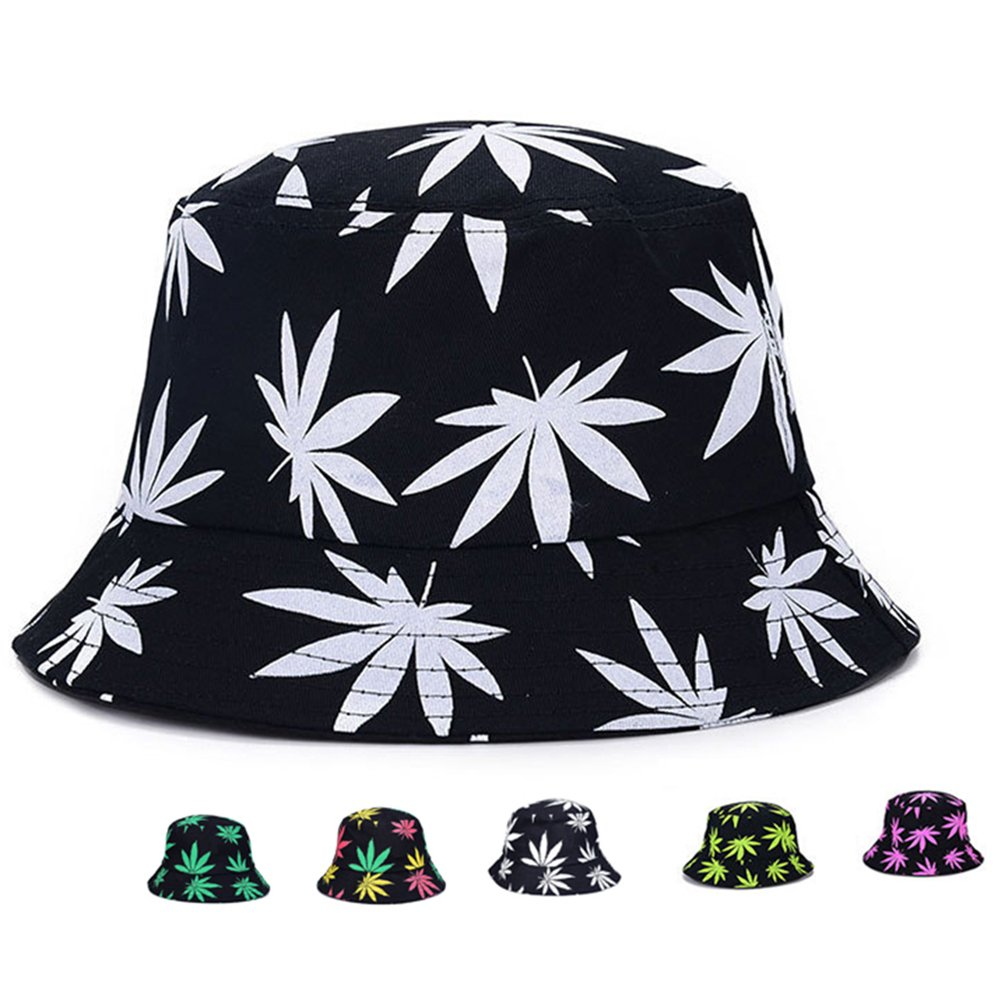 Bucket Hat – Marijuana Weed Fishing Hat – Unisex Sun Uv Protection Wide Brim Flat Sport Cap Hat for Outdoor Running Travel