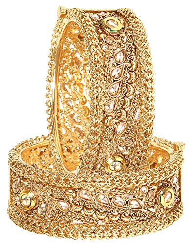 711773d7ad822 YouBella Jewellery Traditional Kundan Studded Gold Plated Bracelet Bangles  Set for Girls and Women (2.4