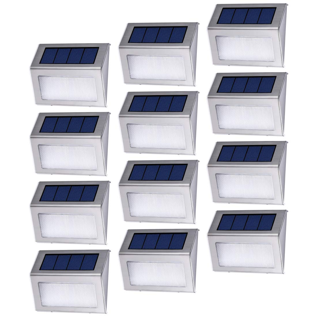 Dyxin 12 Pack Solar Powered Deck Lights Wireless Bright LED Stair Lights Auto On/Off Waterproof Stainless Steel Decorative Outdoor Step Lighting for Driveway Fences Pathway Staircase (White Light)