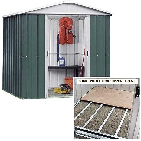 Yardmaster 6 x 6 Apex Metal caseta de jardín con marco de soporte de suelo de
