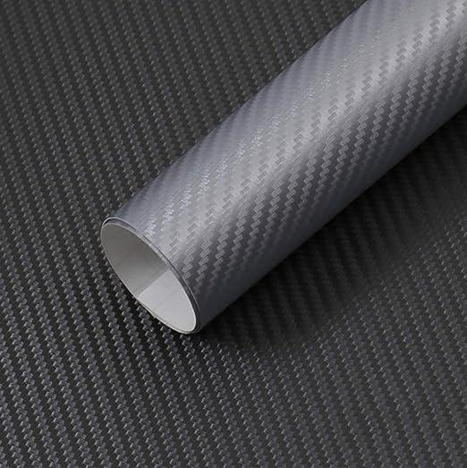 Silver 3D Carbon Fiber Film Twill Weave Vinyl Sheet Roll Wrap 12 X 60, Silver