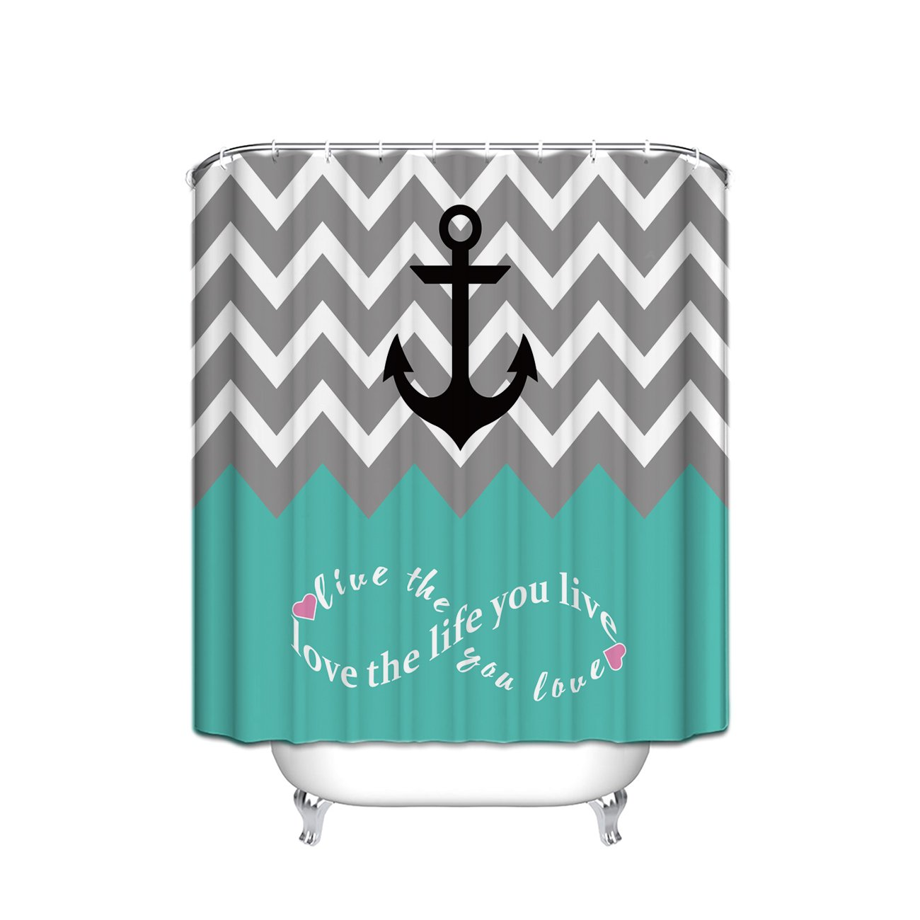 Infinity Live The Life You Love,Love The Life You Live Chevron Pattern with Nautical Anchor Turquoise Grey White Waterproof Bathroom Fabric Shower Curtain,Bathroom Decor Small Size 36 x 72 Chic D
