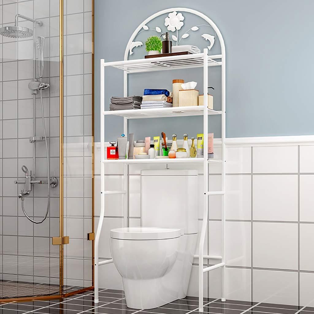 浴室用シェルフ バスルームのバスルームの床多機能錬鉄製の3層トイレラックラック仕上げラック洗濯機フレームカラー:ホワイト/ブロンズサイズ:62 * 32 * 180 cm バスルーム収納 (Color : White) B07SH254L6 White