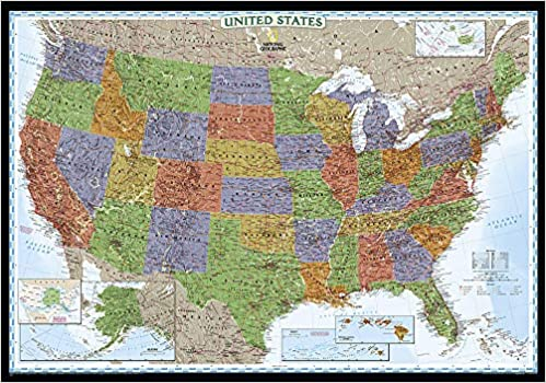 geographical map of the united states National Geographic: United States Decorator Wall Map   Laminated