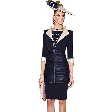 dressvip Round Neck Cap Sleeves Navy Blue Satin Prom Dress Knee Length with Jacket Coat Long