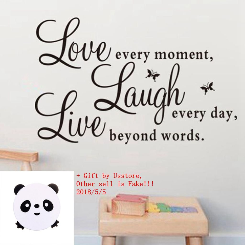 """Wall Sticker Live Love Home Decor Wall Art For Kids Home Living Room House Bedroom Bathroom Kitchen Office """"Live Every Moment,Laugh Every Day,Love Beyond Words"""""""