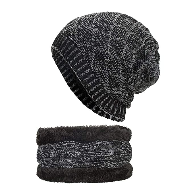 2-Pieces Mens Beanie Hat Scarf Set Plus Velvet Winter Warm Knit Slouchy  Thick Skull 307900ff74