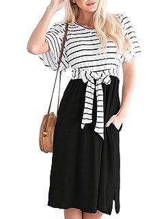 f8e35b20e853 MEROKEETY Women's Summer Striped Ruffle Sleeves Tie Waist Pockets Casual  Swing Midi Dress