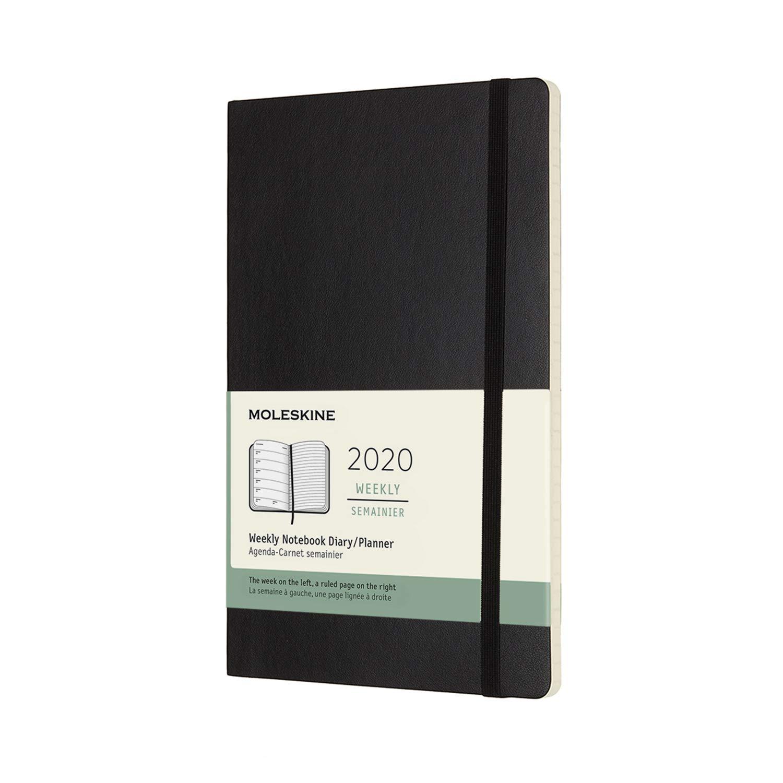 Moleskine - Agenda Semanal de 12 Meses 2020, Tapa Blanda y Goma Elástica, Color Negro, Tamaño Grande 13 x 21 cm, 144 Páginas