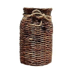POPGRAT Flower Vase, Wood Cylinder Vase 12'' High Vintage Floor Nesting Basket Table Centerpieces Country Home Decor Decorations Gift for Girls