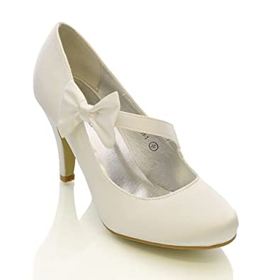ESSEX GLAM Womens Stiletto Mid Low Heel Bridal White Satin Court Shoes 5 B(M