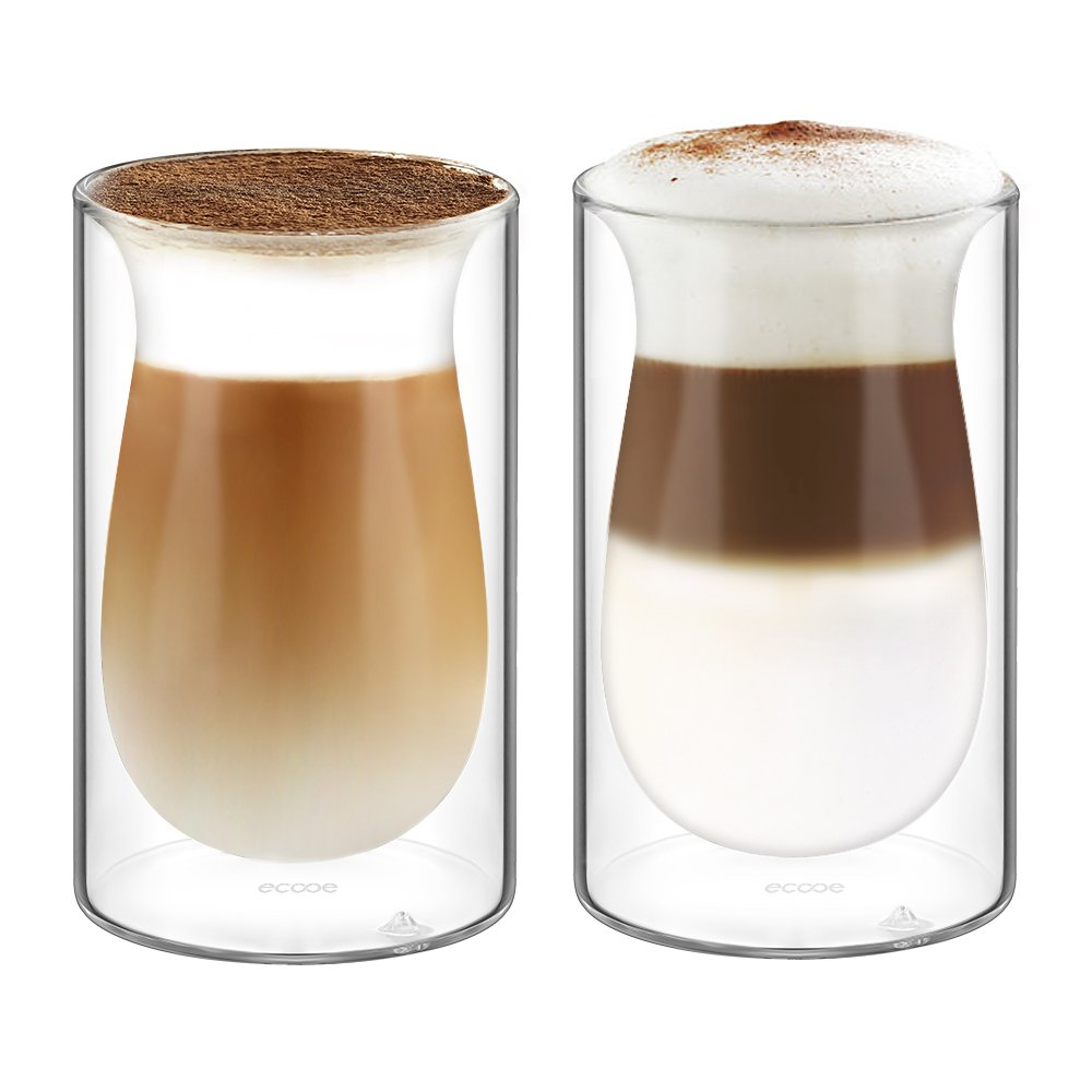 Ecooe 2x350Milliliter/11.95 Ounce Double Wall Insulated Glass Cups Latte Cappuccino Milk Juice Coffee Glasses