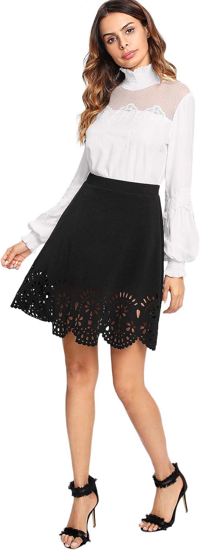 DIDK Femme Jupe Courte Granit/é en Dentelle Style Mignon Taille Haute /Ét/é Mini Jupe