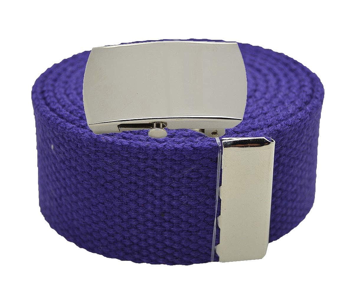 Purple Canvas Military Web Belt /& BIGPlain Silver Buckle 72 Inches #AAAS