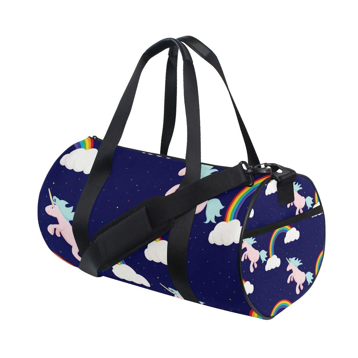 WIHVE Gym Duffel Bag Cute Unicorns Rainbow Night Sports Lightweight Canvas Travel Luggage Bag