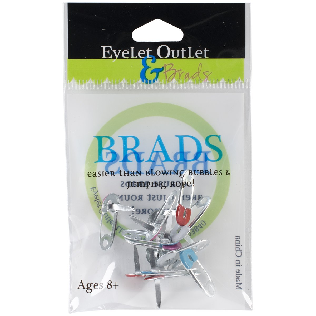 Eyelet Outlet Shape Brads, Safety Pins, 12-Pack QBRD2-86
