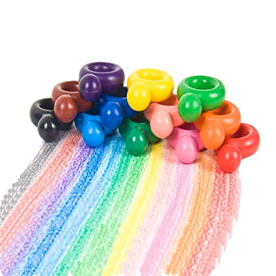 Toddlers Kids Crayons 12 Colors Palm-Grip Crayons Child Safe and Non-Toxic Coloring Crayons Washable Paint Crayons Sticks Stackable Toys