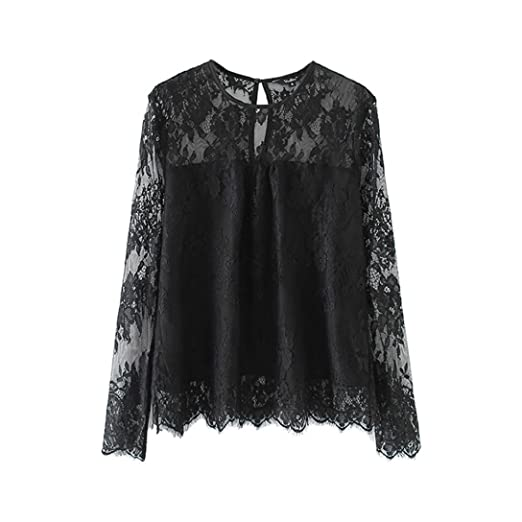 a7d13cea Women Vintage Sexy Sheer Lace Long Sleeve T-Shirt O-Neck Solid Blouse Fall