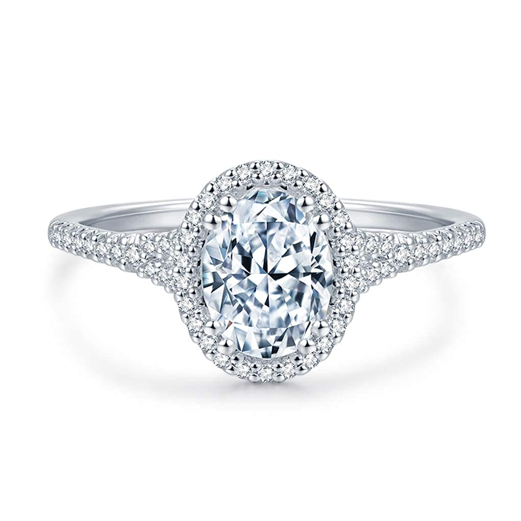 2.25ctw Oval Cut Petite Micropave Halo Simulated Diamond Cubic Zirconia CZ Engagement Rings for Women
