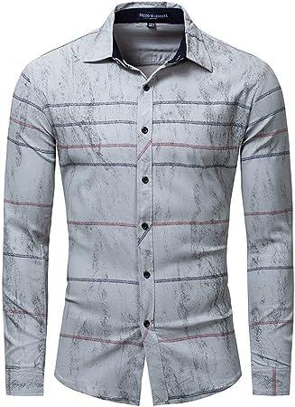 Camisa a Rayas de Manga Larga de algodón para Hombres de Gran tamaño Camisa elástica (Color : Gris Claro, tamaño : L): Amazon.es: Hogar