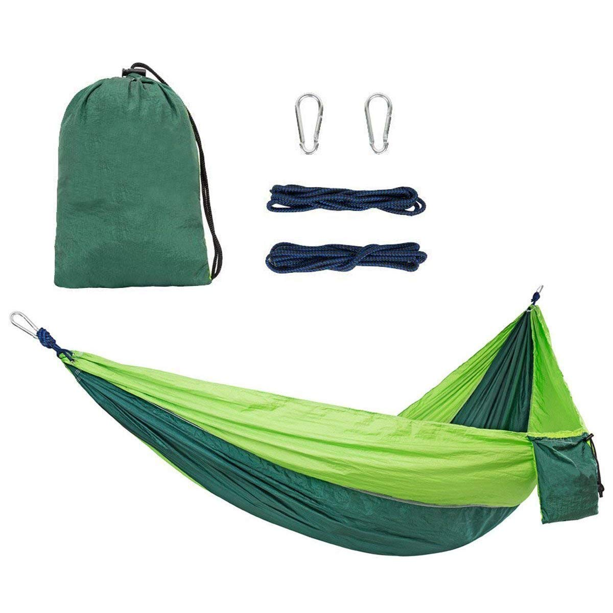 Forbidden Road Hammock Single Double Camping Lightweight Portable Parachute Hammock for Outdoor Hiking Travel Backpacking - Nylon Hammock Swing - Support 400lbs Ropes Carabiners 11 Colors
