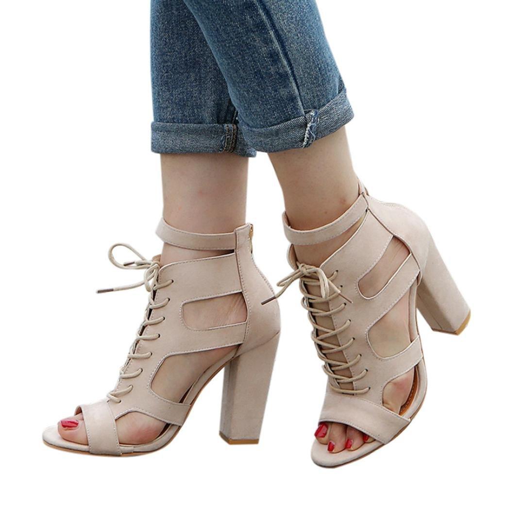 Calzado Chancletas Tacones Zapatos planos Sandalias de mujer Scrub Hollow Fuera cruzado atado Zapatos de Roma Zapatos Super Heel ❤ Manadlian: Amazon.es: ...
