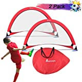Portzon pop up Soccer Goal Set of 2,Soccer Goals for Backyard- Portable Soccer Nets with Carry Bag for Indoor & Outdoor Sports, Size 2 Pop Up Portable Soccer Goals