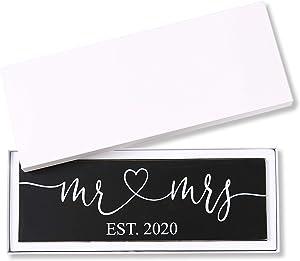 TRULIVA Mr & Mrs Sign EST2020, Rustic Wedding Signs, Gift Box Packaged, 100% Wood, Wedding Present for Newlywed, Wedding Decoration, Bridal Shower (Black, EST 2020)