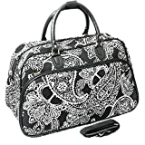World Traveler 21-Inch Carry-On Shoulder Tote Duffel Bag, Black White Paisley, One Size For Sale