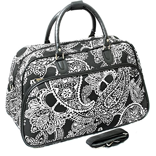 World Traveler 21-Inch Carry-On Shoulder Tote Duffel Bag, Black White Paisley, One (Best World Traveler Shoulder Bags)