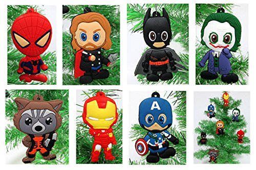Comic Book Holiday Super Hero Christmas Ornament Set - Unique Shatterproof Plastic Design by Holiday Ornaments -