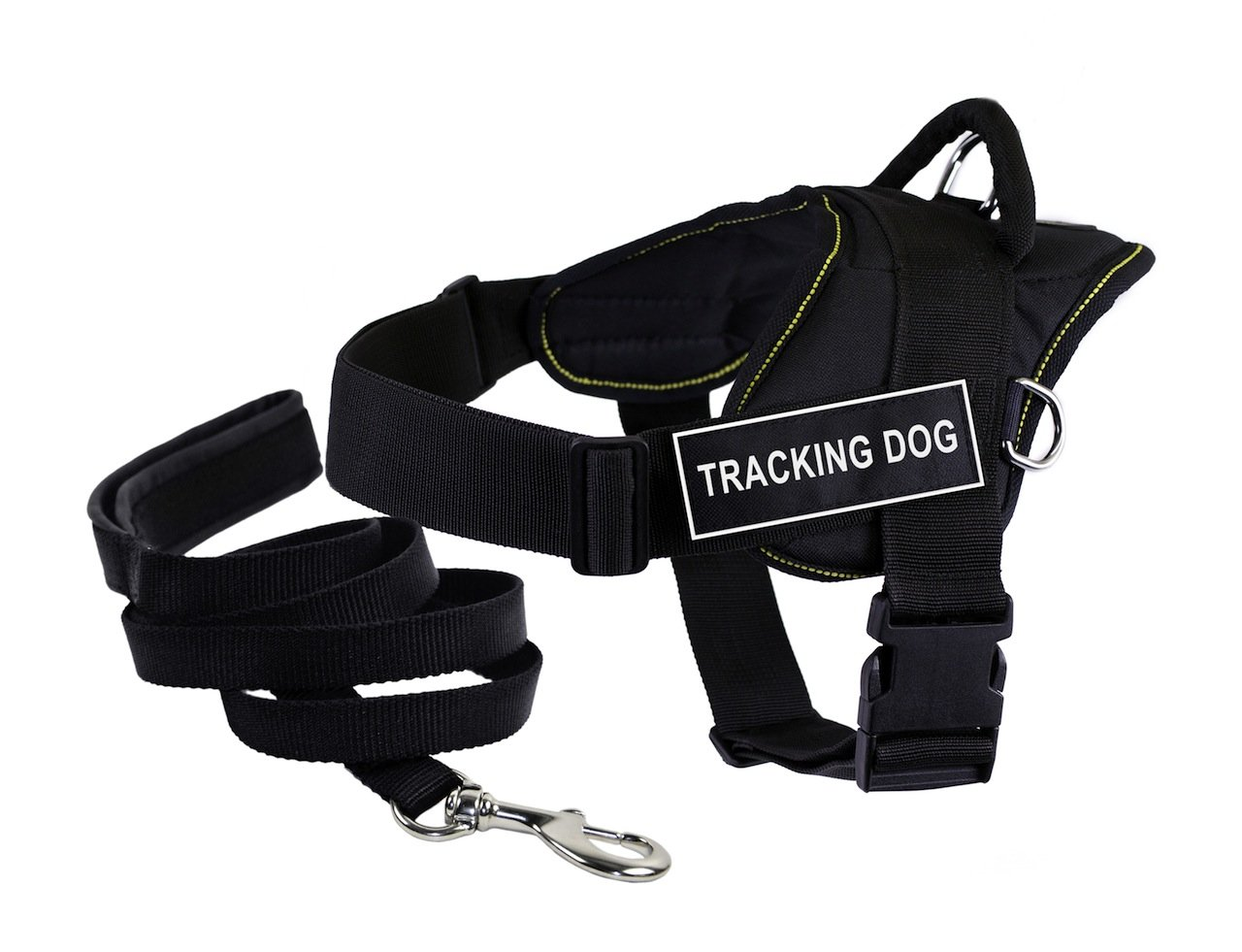 Dean & Tyler Bundle DT Fun Works Yellow Trim X-Large 34 to 47-Inch Tracking Dog  Harness with Padded Puppy Leash and 6-Feet Stainless Steel Snap, Black