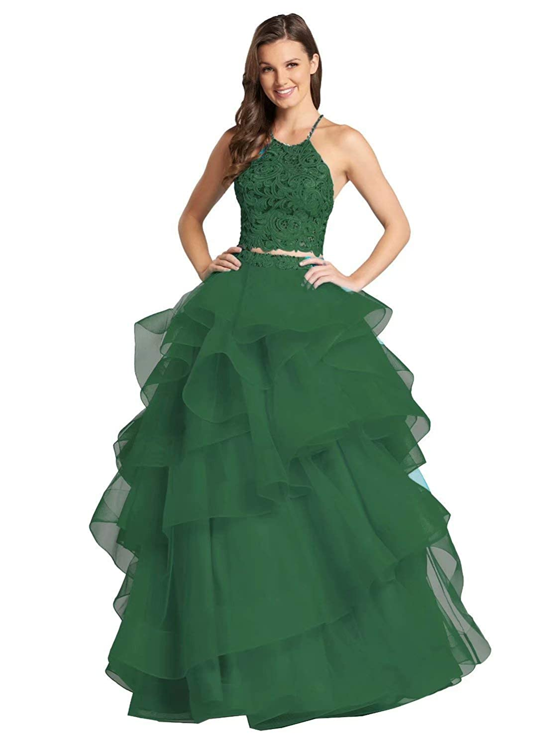 color 18 Unions Women Two Piece Beaded Formal Party Ball Gowns Long Ruffles Layered Tulle Prom Dresses
