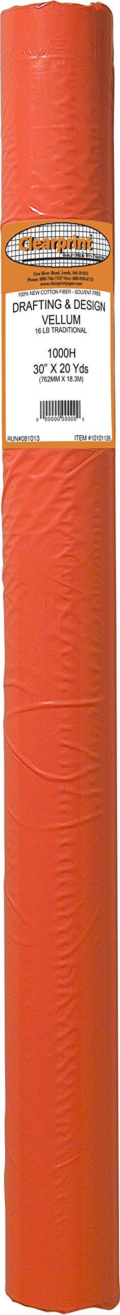 Clearprint 1000H Design Vellum Roll, 16 lb, 100% Cotton, 30 Inches W x 20 Yards Long, 1 Each (10101139)