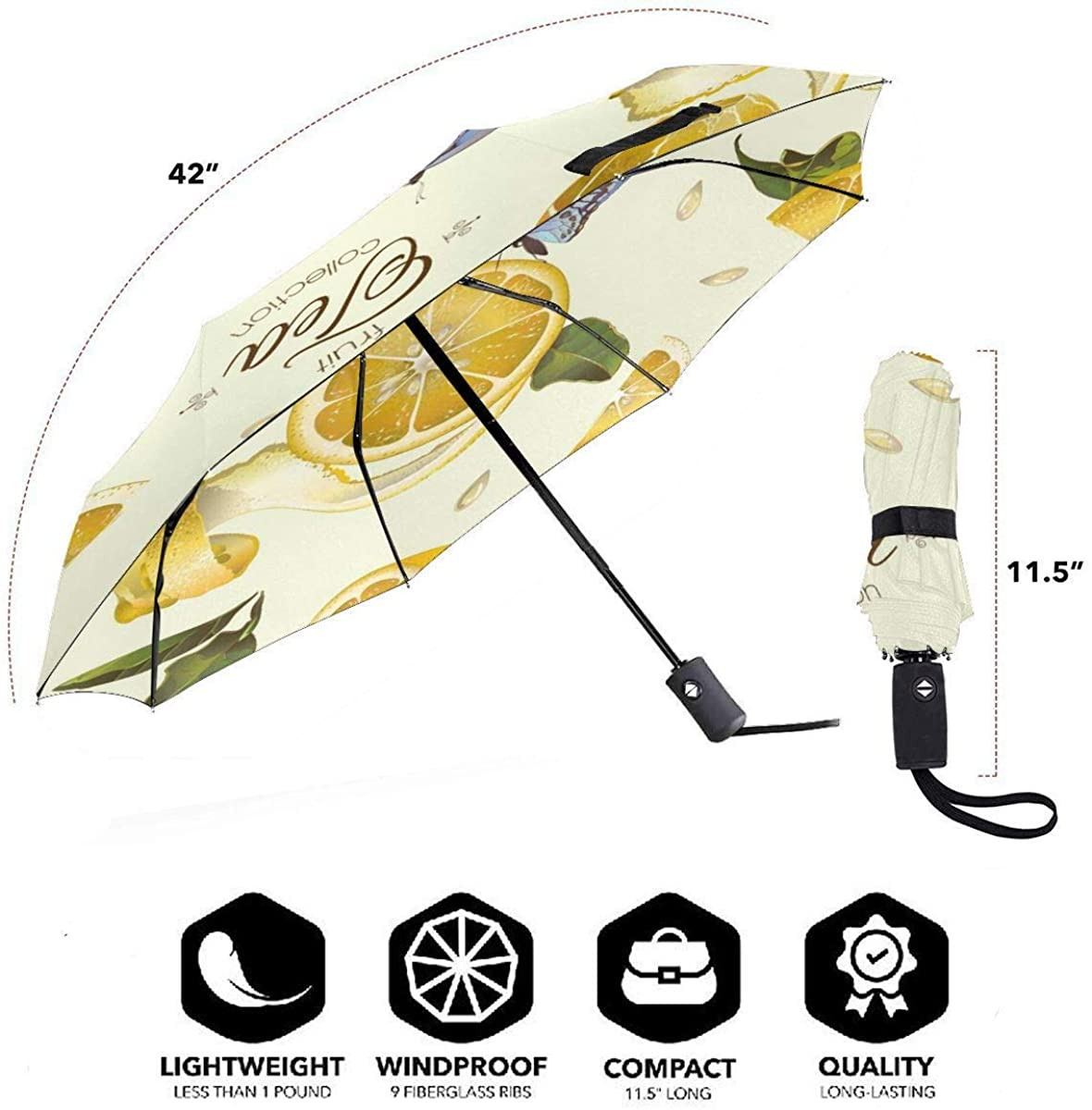 Lemon Tea Seamless Pattern Vector Image Compact Travel Umbrella Windproof Reinforced Canopy 8 Ribs Umbrella Auto Open And Close Button Customized