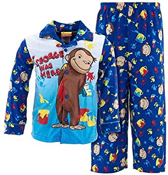 Curious George Little Boys Flannel Coat Style Pajamas 4t
