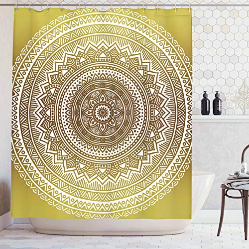Ambesonne Mandala Shower Curtain, Ombre Mandala Flower Pattern Queen Inspired Prints Hippie Design, Cloth Fabric Bathroom Decor Set with Hooks, 70