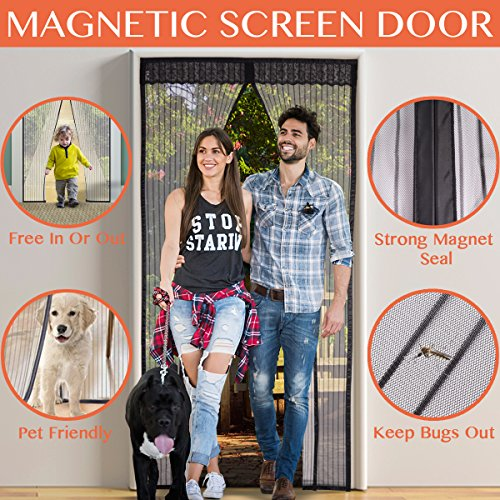 Magnetic Screen Door, Reinforced Insect-resistant Mesh with Strong Magnets & Full Frame Velcro Fits Door up to 34