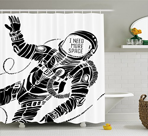 Outer Space Decor Shower Curtain by Ambesonne, Motivation Calligraphy with Astronaut in the Costume Gravity Artwork, Fabric Bathroom Decor Set with Hooks, 70 Inches, Black White