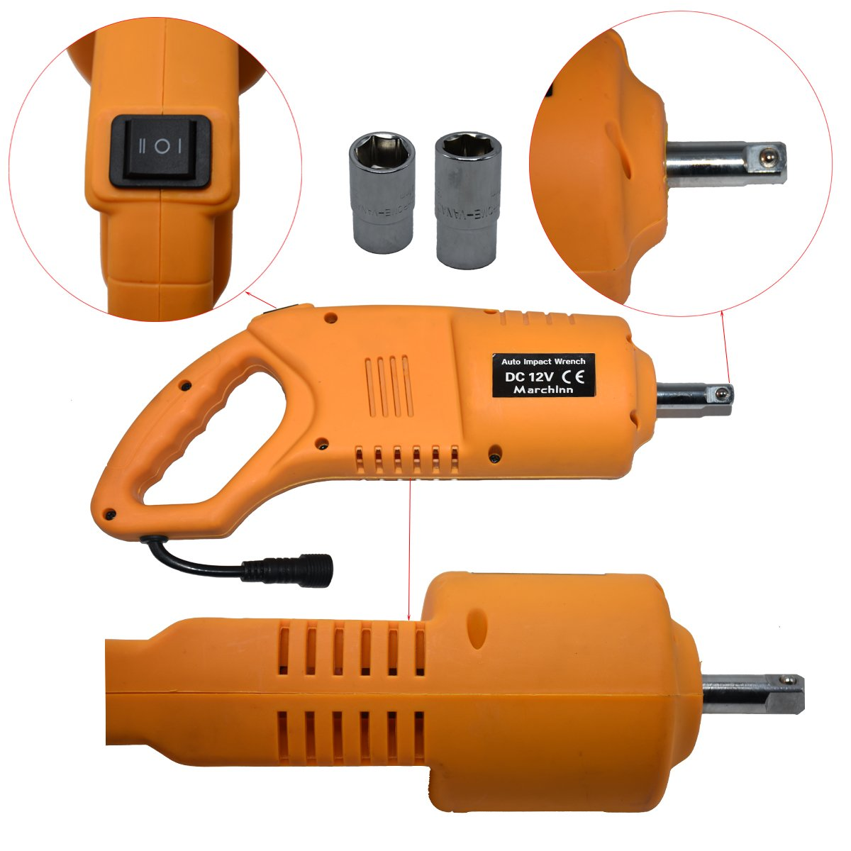 Electric Car Jack and Electric Impact Wrench with Wireless Remote Double Saddles for Vehicle and SUV MarchInn 12V DC 3T 6600lb