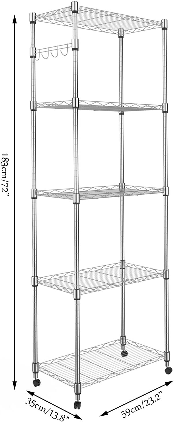 Homdox 5 Tier Steel Wire Shelving Unit on Wheels,Chrome Shelves for Garage Kitchen Living Room,Heavy Duty Shelving Rack, 23.2 x 13.8 x 72 inch (L x W x H)