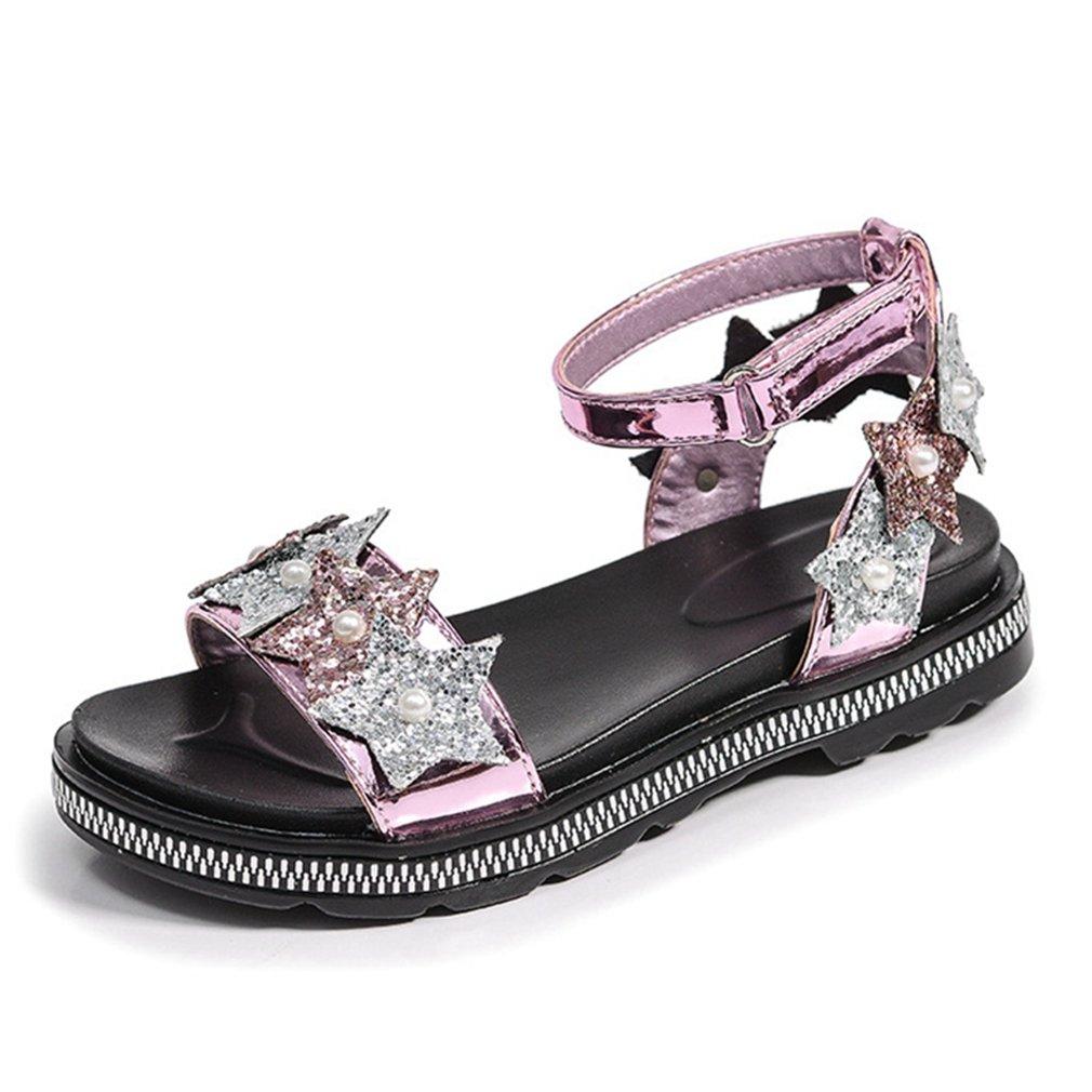 CYBLING Open Toe Sandals for Girls Glitter Star Ankle Strap Princess Dress Shoes (Toddler/Little Kid)