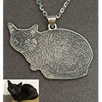 Silver Pet cat Photo Necklace Personalized Pendant Pet Loss Gift Pet Memorial for Birthday or Mothers' Day Christmas Birthday Mothers Mom Day Gifts