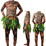 Moana Maui Tattoo T Shirt/Pants Halloween Adult Mens Women Cosplay Costume(XL)