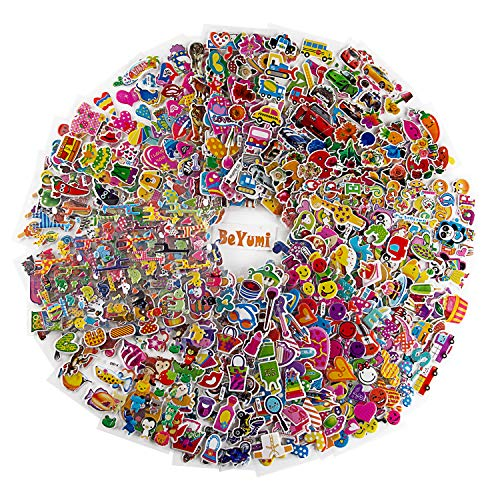 BeYumi Kids Stickers (1800+), 58 Different Sheets 3D Puffy Stickers, Kids Scrapbooking, Including Animals, Cars, Trucks, Airplane, Food, Letters, Flowers, Pets and More]()