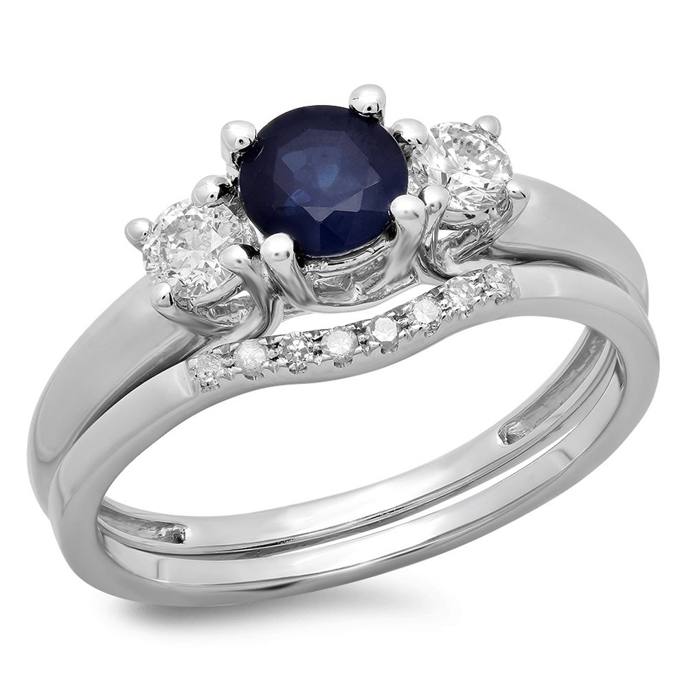 14K White Gold Blue Sapphire & White Diamond Bridal 3 Stone Engagement Ring Wedding Set (Size 6)