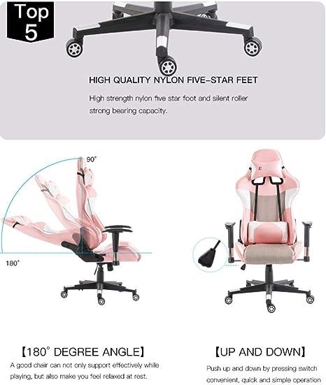 Chaise de jeu Mingwang r/églable pour adultes vert pivotante /à 360/° avec appuie-t/ête et support lombaire de massage