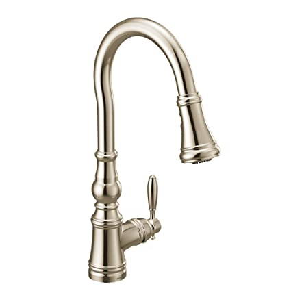 Moen S73004NL Weymouth Shepherd\'s Hook Pulldown Kitchen Faucet Featuring  Metal Wand with Power Boost, Brushed Nickel
